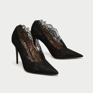 Zara Black Lace High Heel Court Shoes Size 9